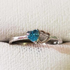 Silver Rhodium Plated Blue Topaz Ring
